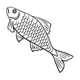 Fish icon in outline style isolated on white background. Fish icon in outline design isolated on white background. Fishing symbol stock vector illustration Stock Photos