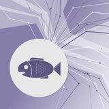Fish icon on purple abstract modern background. The lines in all directions. With room for your advertising. Illustration Royalty Free Stock Photography
