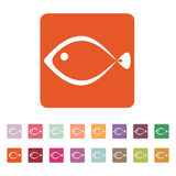 The fish icon. Seafood symbol. Flat. Vector illustration. Button Set Royalty Free Stock Photography