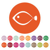 The fish icon. Seafood symbol. Flat. Vector illustration. Button Set Stock Image