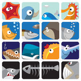 Fish icon set. Funny fish vector icons set Royalty Free Stock Photography