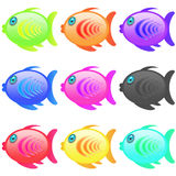 Fish icon set. Series of multicolor cartoon style icon fish Stock Image