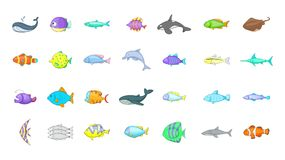 Fish icon set, cartoon style. Fish icon set. Cartoon set of fish vector icons for your web design isolated on white background Stock Photography