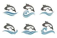 Fish icon set Stock Images
