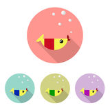 Fish icon set. Flat design style modern  illustration. Isolated on stylish color background Royalty Free Stock Images