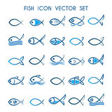 Fish icon Set. Fish icon or symbol set. Monochrome and colorful fish icons.  on white background Royalty Free Stock Photography