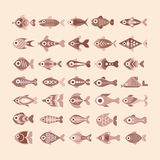 Fish icon set. Set of various vintage style fish vector icons. Multiple design elements Stock Photos