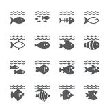 Fish icon set. /16 vector for design Royalty Free Stock Photo