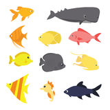 Fish icon set vector exotic sea creature color-ful fun drawing. Vector Stock Photography
