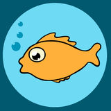 Fish icon. Tropical fish with bubbles flat icon in blue circle Royalty Free Stock Photo