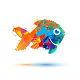 Fish icon - vector. Watercolor splash paint Stock Images