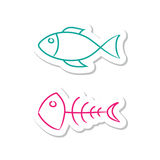 Fish Icons. On White Background Royalty Free Stock Photography