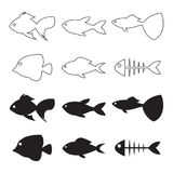 Fish icons. Black isolated icons on a theme fish Royalty Free Stock Images