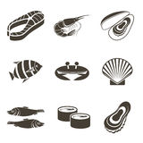 Fish icons. Different fish icons on a white background. Vector illustration Royalty Free Stock Image