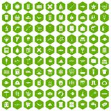 100 fish icons hexagon green Royalty Free Stock Photo