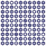100 fish icons hexagon purple. 100 fish icons set in purple hexagon isolated vector illustration Royalty Free Stock Photography