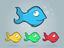Fish Icons. Illustrated cartoon fish icon set Stock Photography
