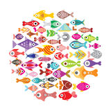 Fish icons round Royalty Free Stock Image