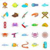 Fish icons set, cartoon style. Fish icons set. Cartoon set of 25 fish vector icons for web isolated on white background Royalty Free Stock Photos