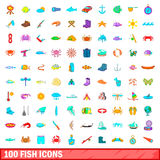 100 fish icons set, cartoon style Stock Image