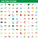 100 fish icons set, cartoon style. 100 fish icons set in cartoon style for any design vector illustration Stock Photo