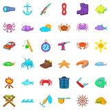 Fish icons set, cartoon style Stock Images