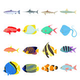 Fish icons set Royalty Free Stock Image