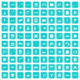 100 fish icons set grunge blue. 100 fish icons set in grunge style blue color isolated on white background vector illustration Vector Illustration