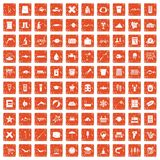 100 fish icons set grunge orange. 100 fish icons set in grunge style orange color isolated on white background vector illustration Royalty Free Stock Photography
