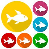 Fish icons set with long shadow. Vector icon Royalty Free Stock Photo