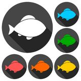 Fish icons set with long shadow. Vector icon Stock Photos