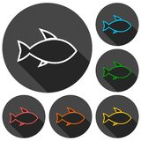 Fish icons set with long shadow Stock Image