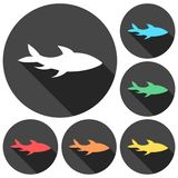 Fish icons set with long shadow Royalty Free Stock Image