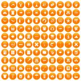 100 fish icons set orange. 100 fish icons set in orange circle isolated on white vector illustration Royalty Free Stock Photo