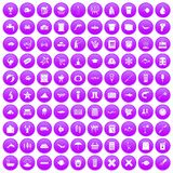 100 fish icons set purple. 100 fish icons set in purple circle isolated on white vector illustration Stock Photo