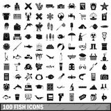 100 fish icons set, simple style Royalty Free Stock Image