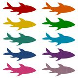 Fish icons set. Vector icon Royalty Free Stock Photos