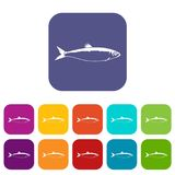 Fish icons set. Vector illustration in flat style In colors red, blue, green and other Royalty Free Stock Photo