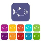Fish icons set. Vector illustration in flat style In colors red, blue, green and other Royalty Free Stock Image