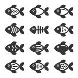 Fish Icons Set on White Background. Vector. Illustration Stock Photos