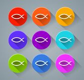 Fish icons with various colors Stock Images
