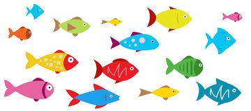 Fish Icons vector illustration. On white Royalty Free Stock Photo