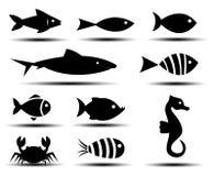 Fish Icons. On white background Stock Photo