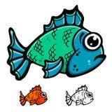 Fish illustration. Blue and green fish cartoon illustration vector design Royalty Free Stock Photo
