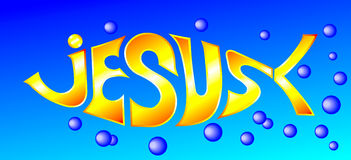 Fish illustration with word Jesus vector illustration