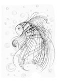 Fish imagination Applied art design. Cute Fish imagination Applied art design freehand pencil sketch black and white, Background is bubbles Royalty Free Stock Photo