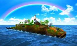 Fish island fantasy. 3D Rendering. Fish island fantasy. 3D illustations Royalty Free Stock Photos