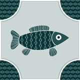Fish isolated in a frame. Blue-green Fish isolated in a frame and seamless background Stock Photos