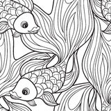 Fish isolated. Hand drawn doodle line decorative marine life bac Stock Images