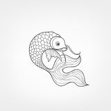 Fish isolated. Hand drawn doodle line decorative marine life bac. Fish isolated on white background. Doodle Line Art  pattern of underwater marine life in retro Royalty Free Stock Photography